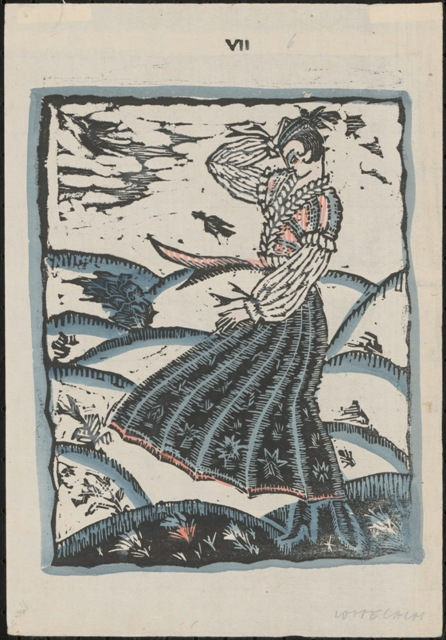 "Windy days, 1915, linocut by Lotte Calm Vienna, published in ""Winer Mode 1914/15"" © Staatliche Museen zu Berlin"