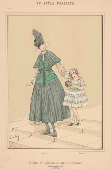 "Spring Fashion by Jeanne Lanvin Paris, 1916, drawing by Dartey, print from ""le Style Parisien"", © Staatliche Museen zu Berlin"