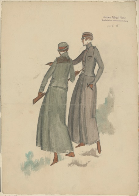 Hunting suit by Alfred-Marie Berlin, 1915, drawing by Annie Offterdinger Berlin, © Staatliche Museen zu Berlin